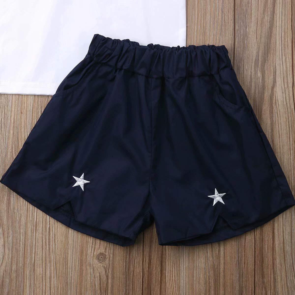 Kids Infant Baby Girls Summer 2Pcs Outfit Halter Short Sleeve Off Shoulder Tops Shorts Clothes Set