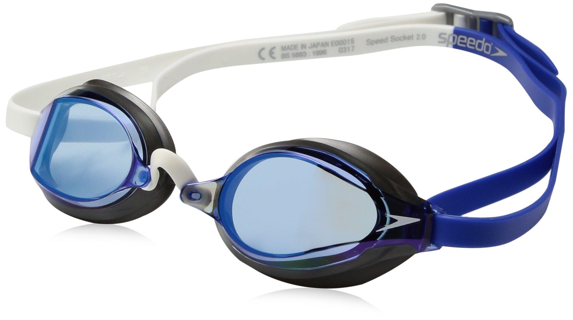 Speedo Speed Socket 2.0 Mirrored Swim Goggles, Curved, Anti-Glare, Anti-Fog with UV Protection, Dazzling Blue, 1SZ