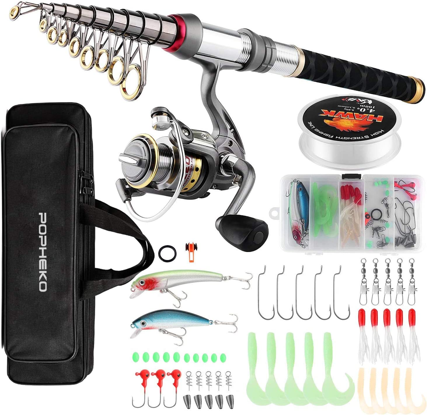Amazon Com Mouhike Fishing Rod Reel Combo Full Kit Telescopic Fishing Pole Set Spinning Reel Line Lures Hooks And Fishing Carrier Bag Saltwater Freshwater Fishing Gear For Kids Adults Professional 1 8m 5 9ft