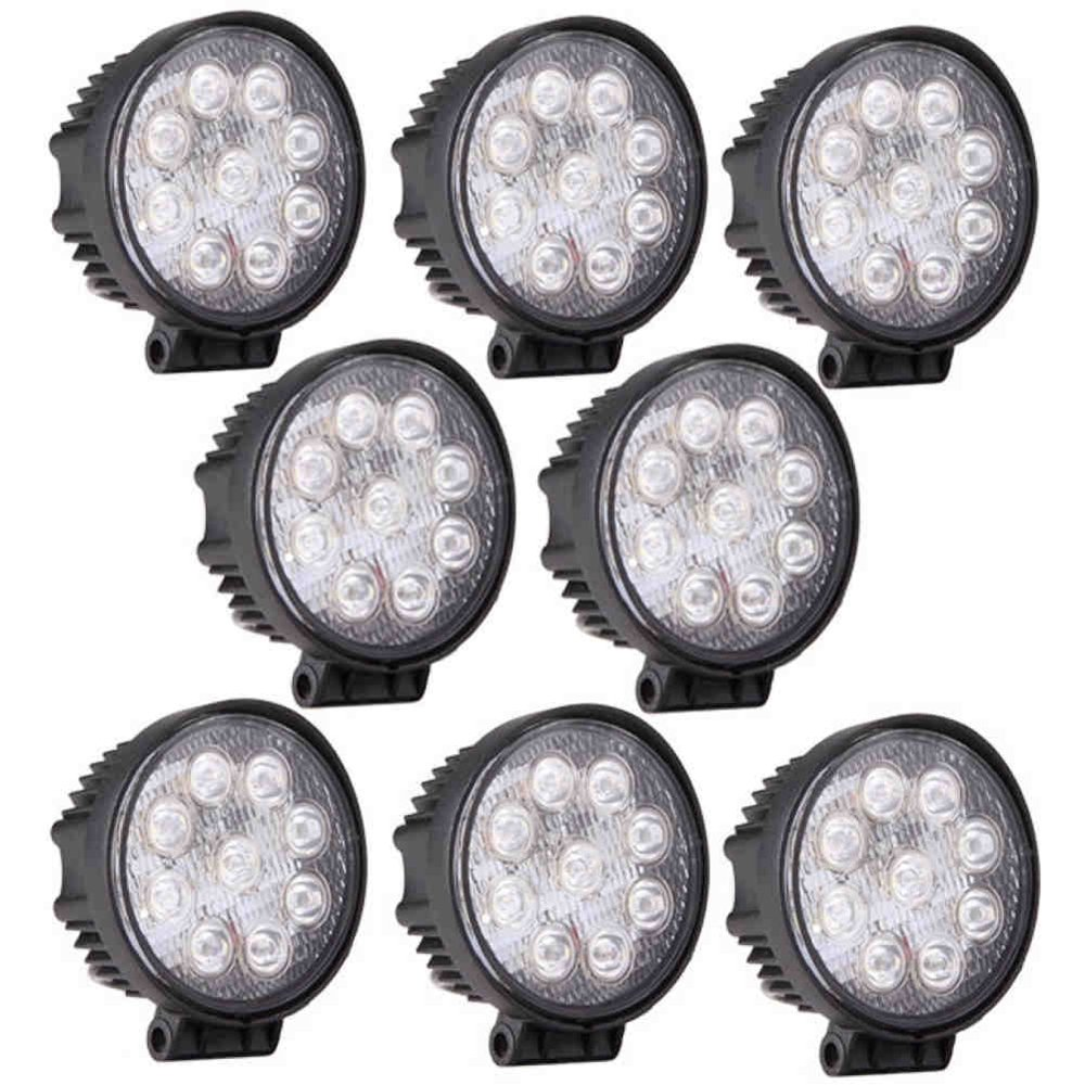 GZYF 8PCS 27W LED Work Light Lamp Bar Round Flood Beam Offroad For Truck Car Boat SUV 4WD UTE ATV 4X4 12V 24V