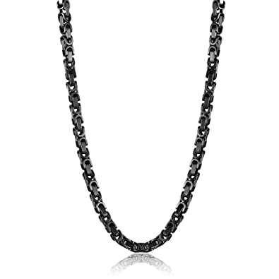 cfd017b21056e9 Crucible Black Plated Polished Stainless Steel Byzantine Chain Necklace  (8mm) - 24""