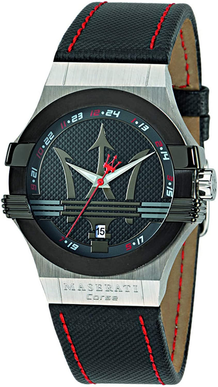 Reloj para Hombre, Colección Potenza, Movimiento de Cuarzo, Solo Tiempo con Fecha, en Acero y Cuero - R8851108001