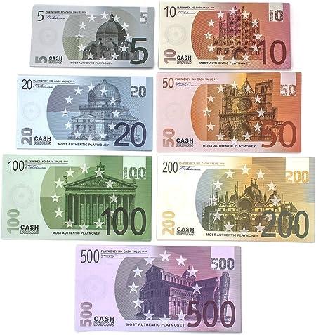Cashbricks® 7 x 10 Euro Dinero de Juguete (Euro Set): Amazon.es ...