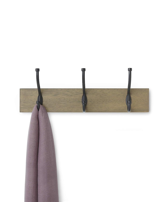 AmazonBasics Wall Mounted Standard Coat Rack, 3 Hooks, Barnwood