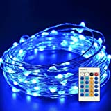 Emwel Blue LED Copper Fairy Lights with Remote Controller 33ft 10M 100 LEDs USB Powered Starry Lights Waterproof Decor String Lights LED Flexible Bendable Wire Lights Rope Lights for Outdoor and Indoor DIY Decorations --Blue
