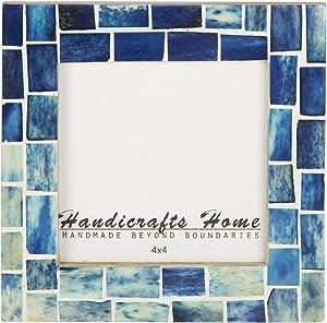 Handicrafts Home Indigo Picture Frames - Shades of Blue Bone Inlay - Mosaic Style Photo Frames Size 4x4