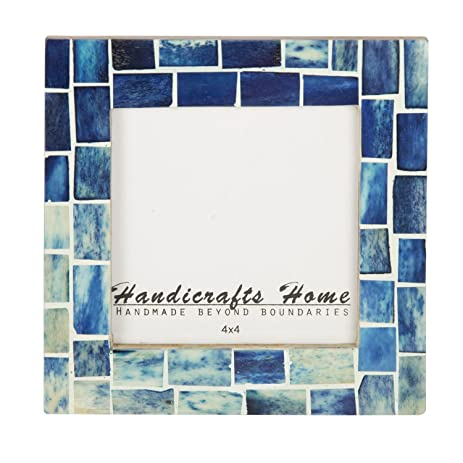indigo mosaic photo frame bone handmade picture frames from hanidcrafts home size 4x4x1 - Mosaic Frames