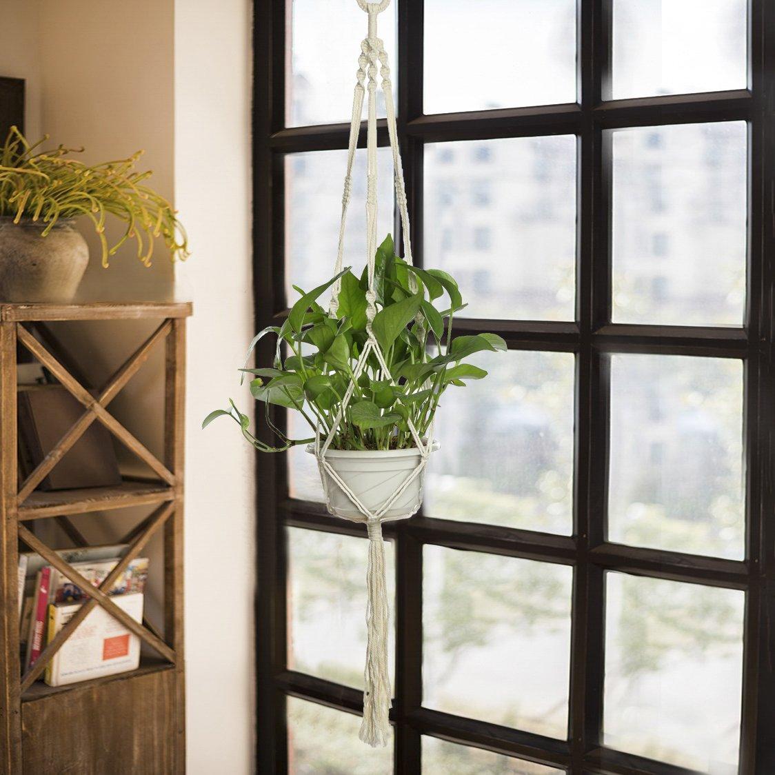 2 piezas de cesta de maceta para interiores y exteriores, colgante, cuerda de algodón, 4 patas de 101,6 cm, hecho a mano para interiores y exteriores, soporte de cuerda para colgar con gancho de techo, blanco