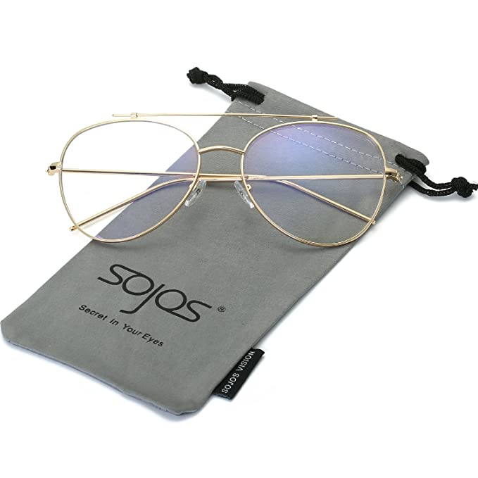 SojoS Gafas De Sol Hombres Y Mujeres Aviator Clásico Marco Metal Lentes Espejo UV400 SJ1062 Marco Dorado/Lentes Transparentes: Amazon.es: Ropa y accesorios