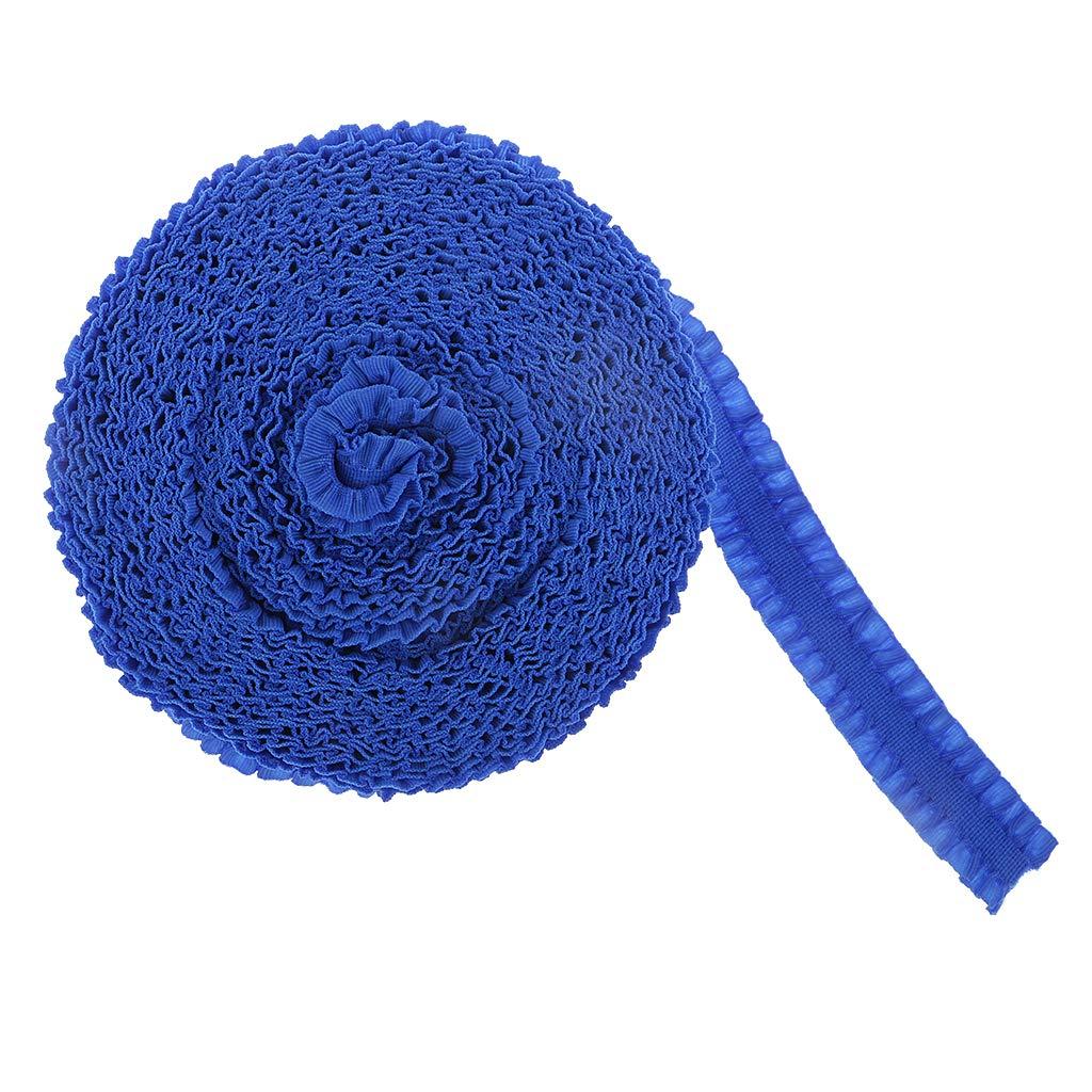 perfk Elastische Plissee Spitzenband Faltenborte N/ähen Dekoband R/üschenband Spitzenbesatz Blau