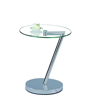Aspect Clear Glass End Coffee Curve Round Side Table Amazon Co Uk