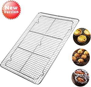 Cooling Racks For Baking Bakeable Nonstick Baking Rack Oven Safe Stainless Steel Cooling Rack for Cooking Roasting Grilling 12 x 17 Inches Fits Half Sheet Cookie Pan