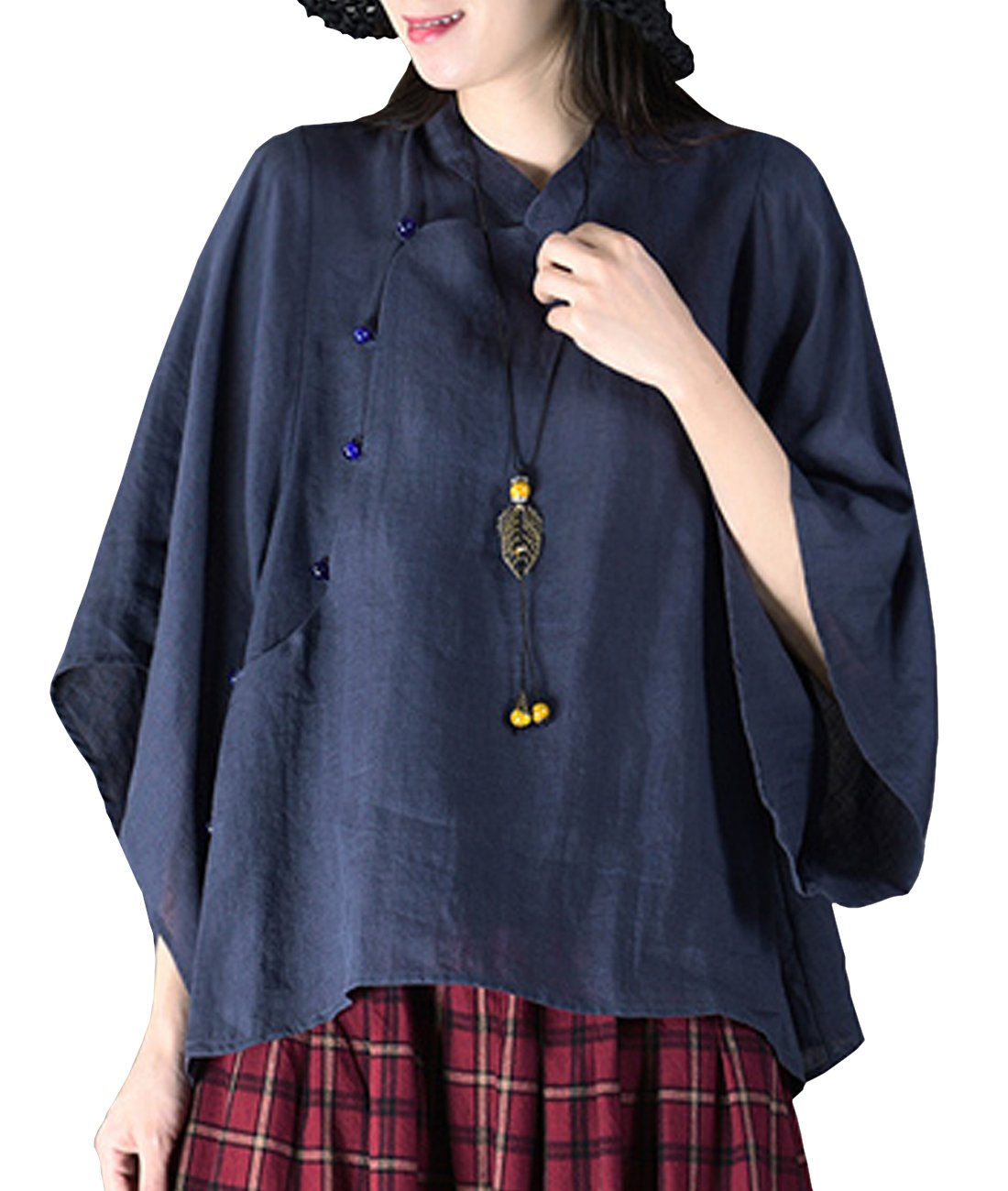 YESNO Y75 Women Casual Loose Fit Blouse Shirt 100% Linen Chinese Traditional Frogs Retro Style Puff Sleeve