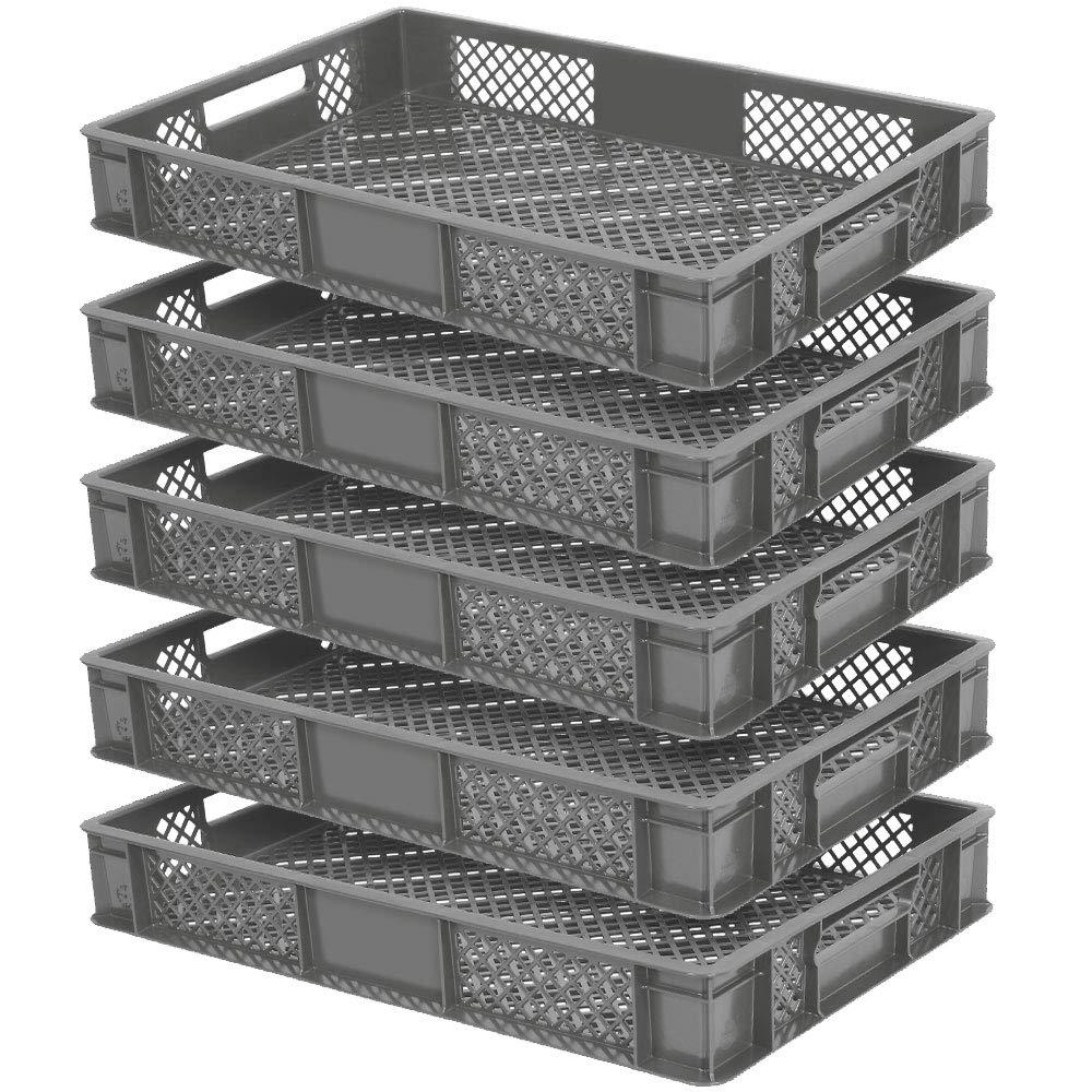 5x Eurobehä lter durchbrochen/Stapelkorb, lebensmittelecht, LxBxH 600 x 400 x 90 mm, grau BRB
