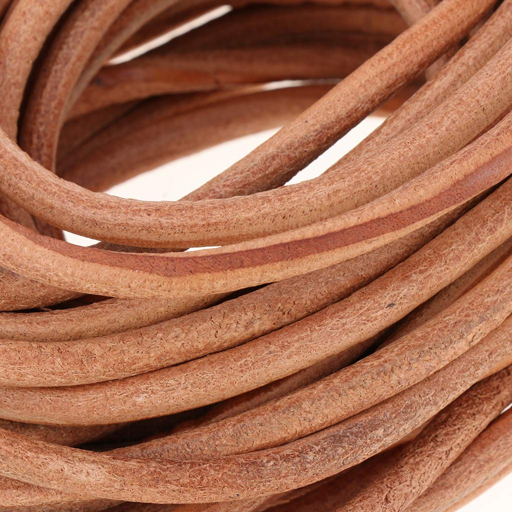 Jewelry Making Shoelaces 5mm Diameter 10 Meters Natural Rawhide Rope for Kumihimo Braiding Round Leather Roll Cowhide Leather Cord