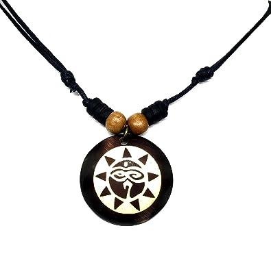 3a9b988f2a13 Amazon.com  Brown Coqui Taino Sun Necklace Buddha All Seeing Third ...