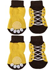 Non-Slip Tiny Small Dog Cat Socks with Paw Prints (Shoelace Pattern, S)