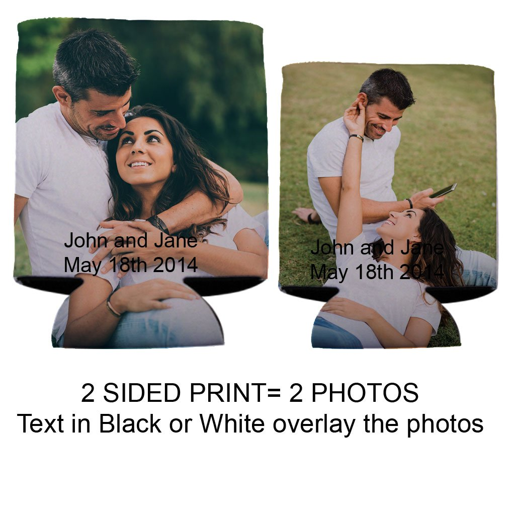 Custom Photo Wedding Can Cooler- 2 Photos one on either side (250) by VictoryStore