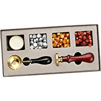 F Fityle Wax Seal Stamp Kit Wax Beads & Sealing Stamp Melting Spoon Tool for Invitations Envelopes Letter DIY Sealing…