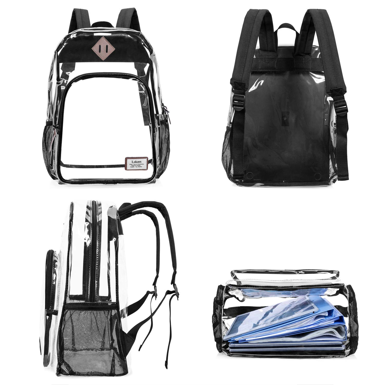 4b78d79b9653 NiceEbag Clear School Backpack Heavy Duty Clear Bookbag Large See Through  Backpack for Teen Girls Boys larger image
