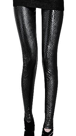 Black leather look snake print leggings