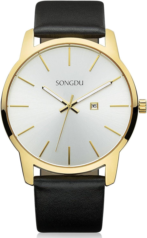 SONGDU Big Face Men s Analog Date Stainless Steel Black Leather Strap Wrist Watch