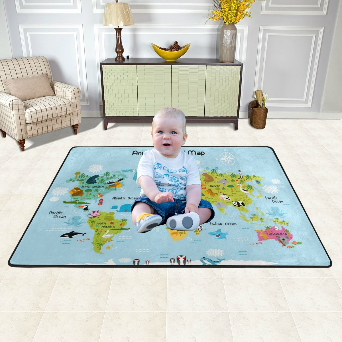 Cartoon Animals World Map Area Rug for Kids Educational Carpets Soft Non-Slip Boys Girls Baby Floor Mat for Playroom Bedroom Classroom 4' x 6'