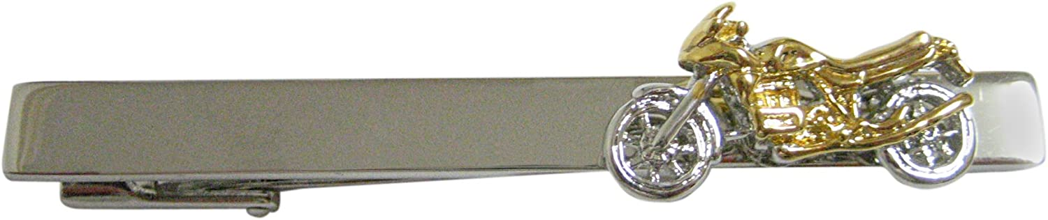 Gold and Silver Toned Dirt Bike Square Tie Clip