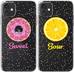 Mertak TPU Couple Cases Compatible with iPhone 12 Pro Max Mini 11 SE Xs Xr 8 Plus 7 6s Yellow Sour Lemon Food Boyfriend Best Friend Clear Sweet Cute Soulmate Silicone Pink Protective Donut Lightweight