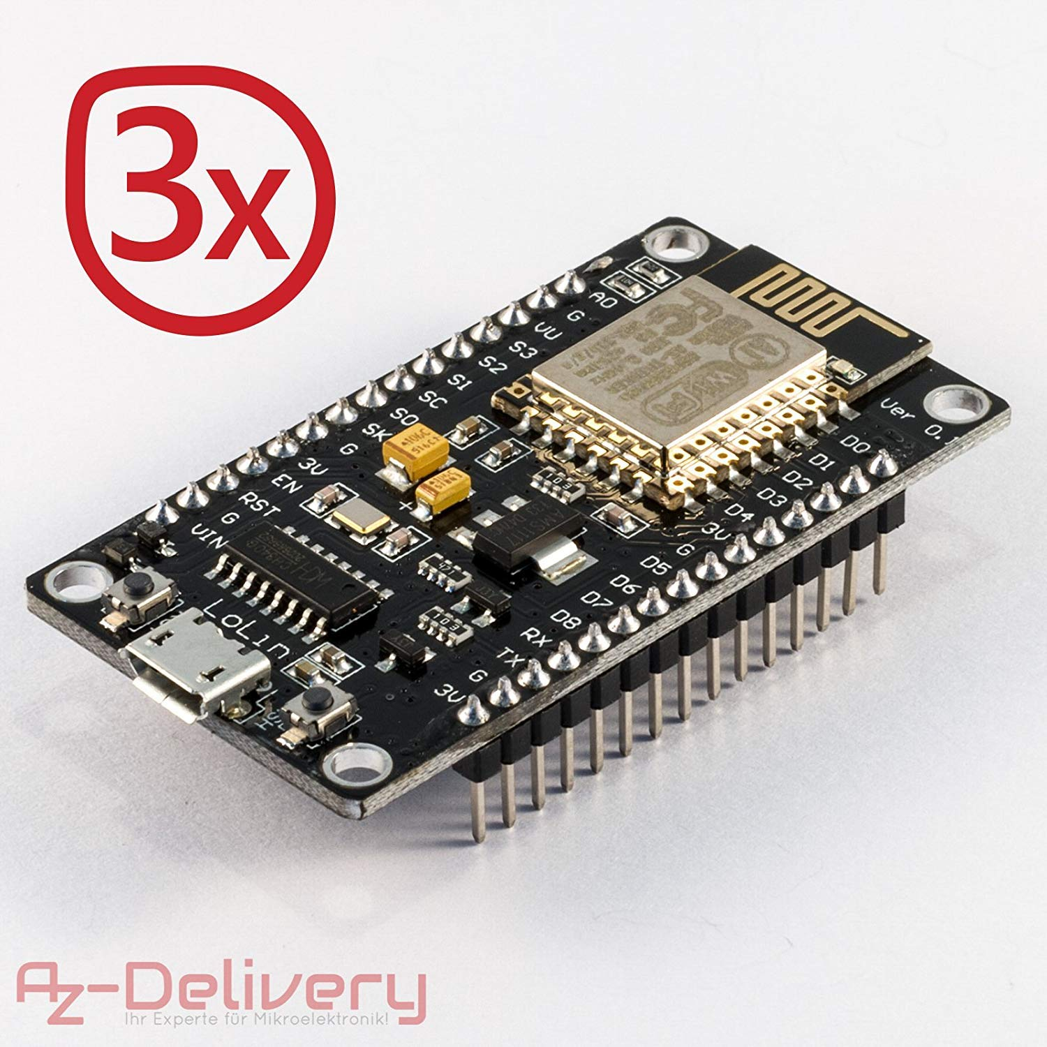 AZDelivery ⭐⭐⭐⭐⭐ NodeMcu WiFi Lua Lolin V3 ESP8266 ESP-12E Development  Board with CH340 Including Free eBook!