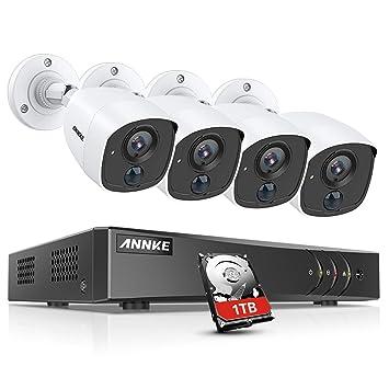 ANNKE Kit de 4 Cámaras de vigilancia 1080P PIR Detección de Movimiento Alarma de luz Intermitente