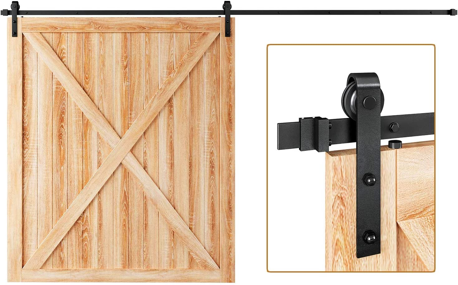 Amazon Com Easelife 12 Ft Heavy Duty Sliding Barn Door Hardware Track Kit Ultra Hard Sturdy Slide Smoothly Quietly Easy Install Fit Up To 72 Wide Door 12ft Track Single Door Kit Home Improvement