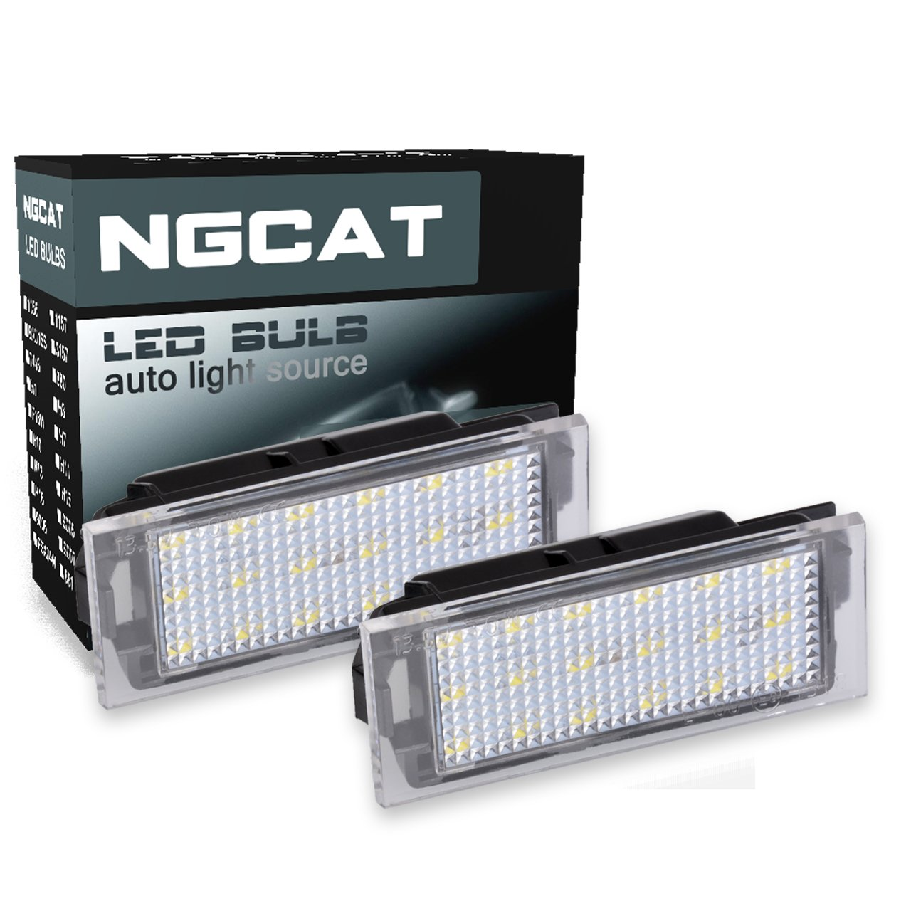 NGCAT 1Pair 3528 18SMD White 6000K LED License Number Plate Light Lamps Car Styling 150