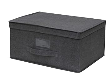 design de qualité 34144 ce757 Cflagrant® Grande Boite de Rangement Tissu Pliable Renforcé XXL Dim:  51x41x26cm avec Couvercle et Poignée (Gris Foncé)