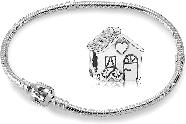 Original Pandora kit/genético 925 plata esterlina - 1 pulsera de plata - longitud de 18 cm - Art. No 590702HV -18 y 1 plata element hogar - Art. No 791267