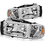 DWVO Compatible with 94-01 Dodge Ram 1500/94-02 Dodge Ram 2500 3500 Headlight Assembly OE Style Replacement Chrome…