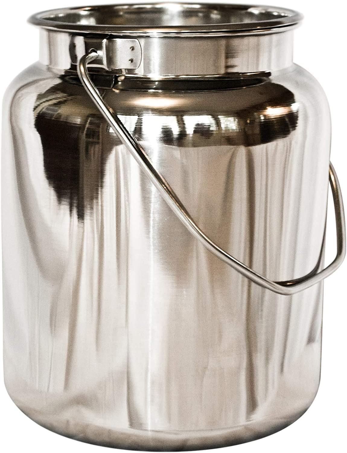 10 Qt Stainless Steel Milk Can Tote. Solid & Seamless, Easy Carry