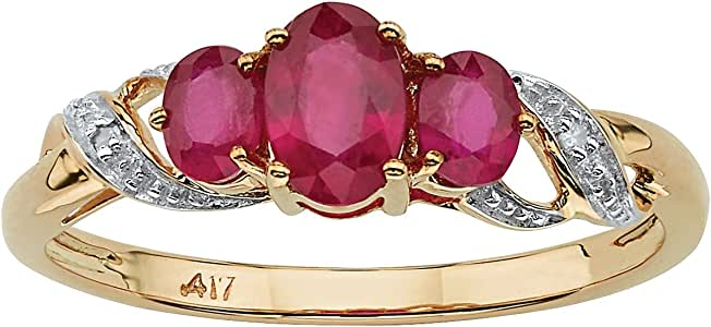 Amazon.com: 10K Yellow Gold Oval Cut Genuine Red Ruby and