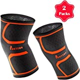 Portzon Knee Compression Sleeve, 1 Pair Knee Brace, Support for Women Men, Powerlifting Running Sports, Orange