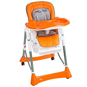 Tectake Baby Highchair Height Adjustable Different Colours Orange