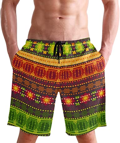 Paisley Mens Boardshorts Light Weight Swim Trunks Fashion Board Shorts for Men