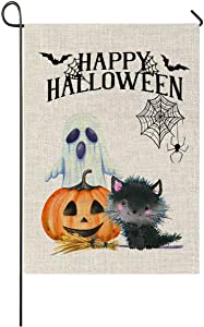 Faromily Halloween Pumpkin Cat Ghost Garden Flag Vertical Double Sized Fall Halloween Yard Outdoor Decoration 12.5 x 18 Inch
