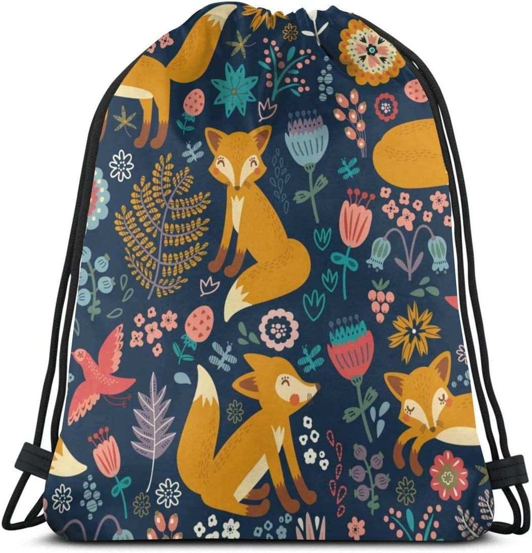 LOKIDVE Women's Fox Flowers Drawstring Backpack Travel Gym Party Favor Bags