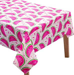 2 Pieces Watermelon Tablecloth Watermelon Party Table Cover Summer Fruit Tablecloth Disposable Rectangular Table Decor for Birthday Party Dining Room Baby Shower Supplies 51.2 x 86.6 Inches