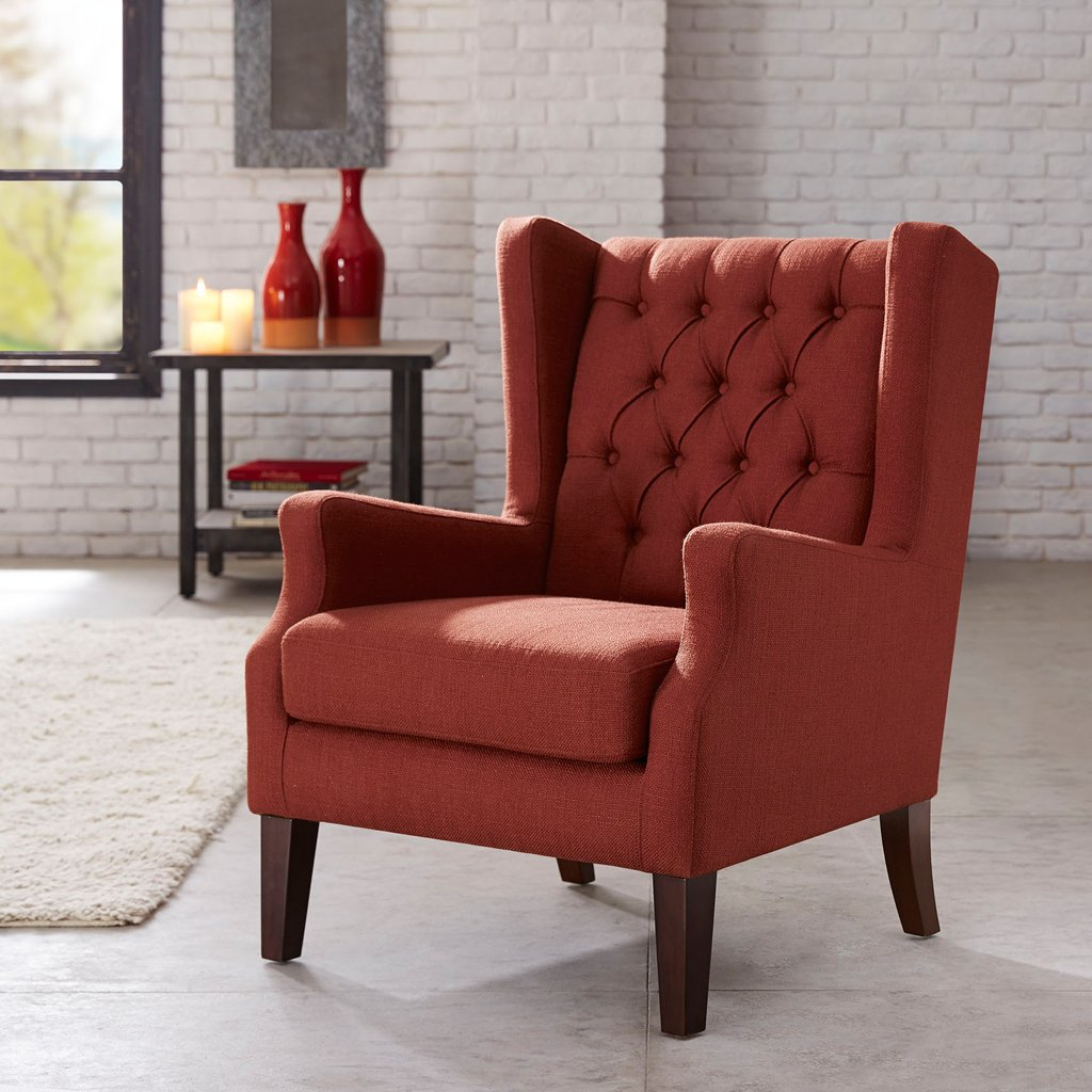 amazoncom button tufted wing chair redmaxwell home kitchen - Red Living Room Chairs
