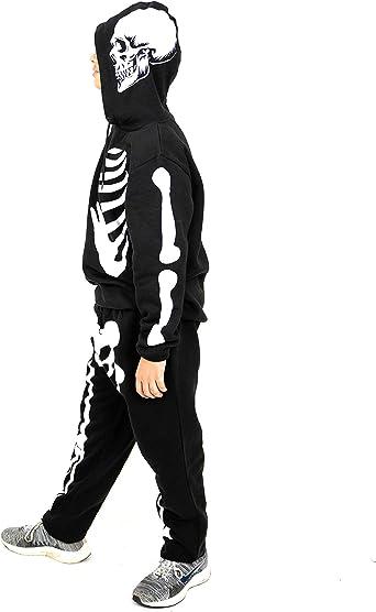Tuta da jogging con cappuccio per Halloween NOROZE con scheletro
