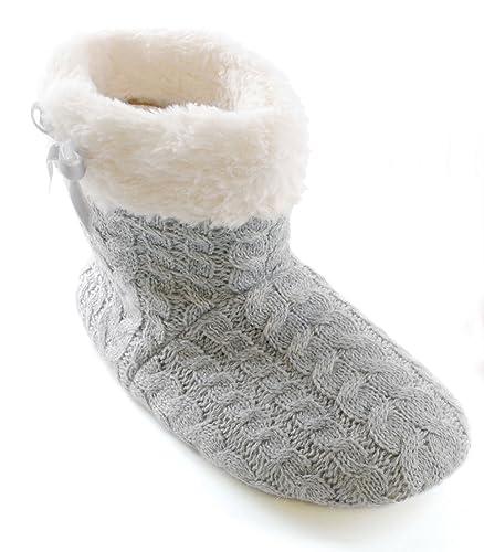 Chaussons montants style tricot - fausse fourrure/polaire - fille - Cousu  avec Fourrure Gris