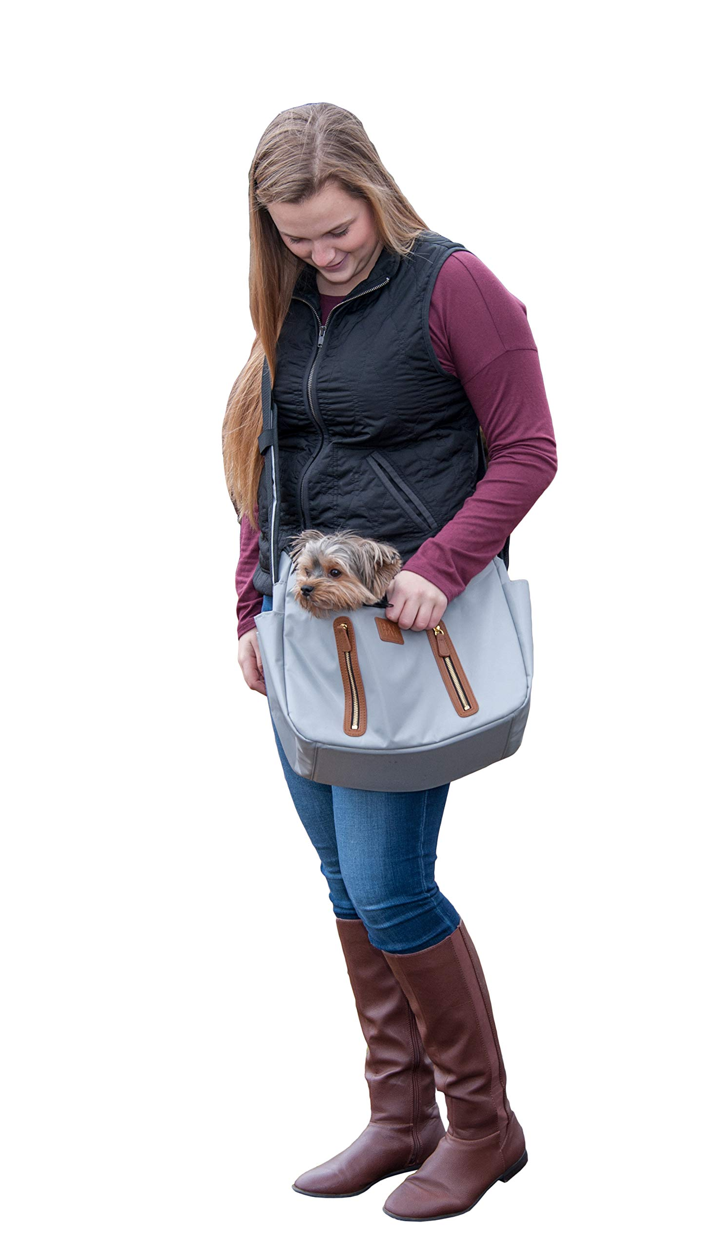 Pet Gear R&R Sling Carrier for Cats/Dogs, Storage Pockets, Removable Washable Liner, Zippered Top with Mesh Window by Pet Gear