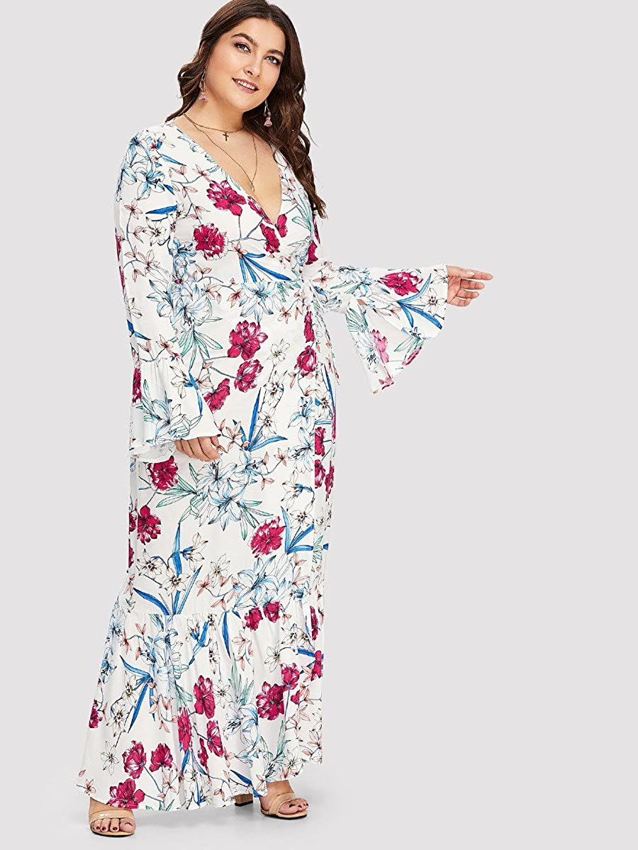 78dc591911e Floerns Women s Plus Size V Neck Long Sleeve Belted Floral Maxi Wrap Dress  White 3XL  Amazon.co.uk  Clothing