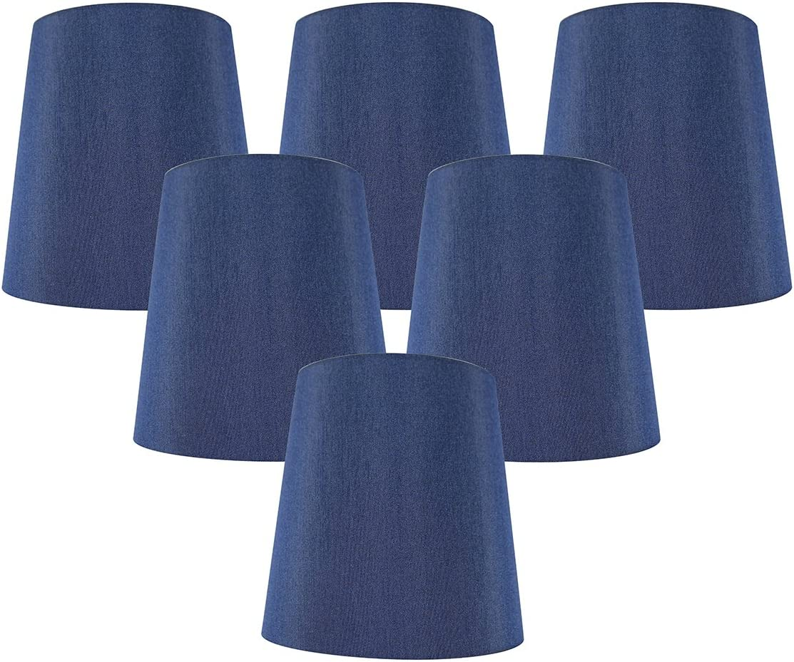 4-inch by 5-inch by 5-inch Meriville Set of 5 Black Faux Silk Clip On Chandelier Lamp Shades